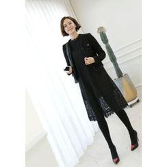 Lemite - Faux-Peal Beaded Tweed Cardigan