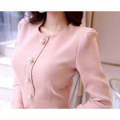 Marlangrouge - Faux-Pearl Button Midi Sheath Dress