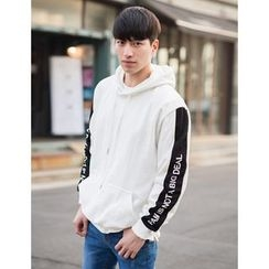 STYLEMAN - Lettering-Sleeve Hoodie T-Shirt