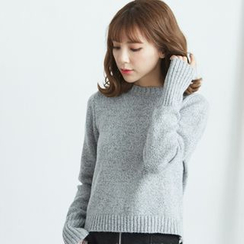 BAIMOMO - Long-Sleeve Lace-Up Knit Top