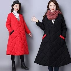 Diosa - Contrast Trim Long Padded Coat