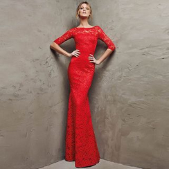 Royal Style - Elbow-Sleeve Lace Mermaid Evening Gown / Elbow-Sleeve Lace Cocktail Dress