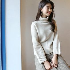 Hello sweety - Turtle-Neck Wool Blend Sweater