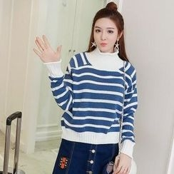 MayFair - Turtleneck Stripe Knit Top