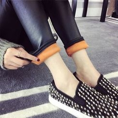 efolin - Fleece-Lined Faux Leather Leggings