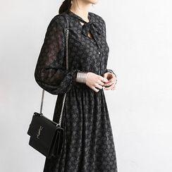 NANING9 - Tie-Neck A-Line Maxi Chiffon Dress