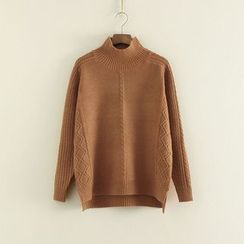 Mushi - Mock Neck Cable Knit Sweater