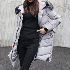 GARAT - Furry Trim Hooded Long Padded Coat