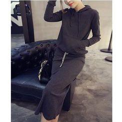 Sienne - Set: Hood Pullover + Midi Skirt