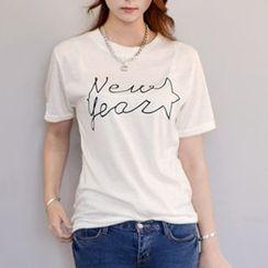 Ranee - Short-Sleeve Lettering T-Shirt