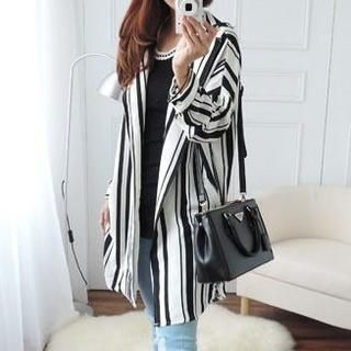 CYNTHIA - Striped Open-Front Chiffon Jacket