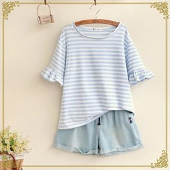 Fairyland - Stripe Bell-Sleeve Crewneck T-Shirt