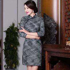 Maura Qipao - 粗花呢混色旗袍