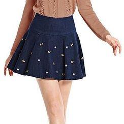 O.SA - Embroidered A-Line Skirt