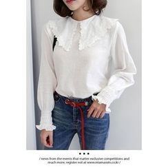 Miamasvin - Collared Smocked-Cuff Lace-Trim Cotton Top