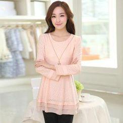 AiSun - Long-Sleeve Patterned Layered Top