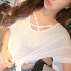 Hotpink - Short-Sleeve Cross-Strap Plain T-Shirt