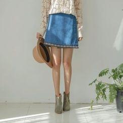 JUSTONE - Pattern-Trim Denim Mini Wrap Skirt