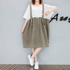VIZZI - Mock Two-Piece Jumper Dress
