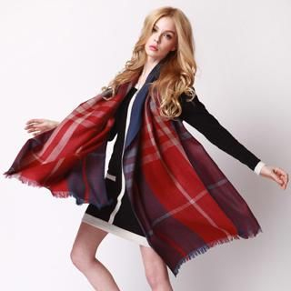 RGLT Scarves - Fringed Plaid Wool Scarf