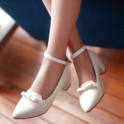 Freesia - Bow Ankle Strap Patent Pumps
