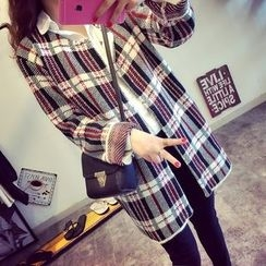 Lucy Girl - Check Knit Long Jacket