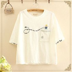 Angel Love - Embroidered Short-Sleeve T-Shirt