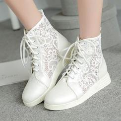 Shoes Galore - Lace Panel Lace-Up Short Boots
