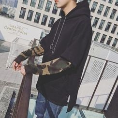 Bestrooy - Camo Panel Mock Two Piece Hoodie