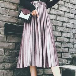 Zzang Girls - 風琴褶絨質裙子