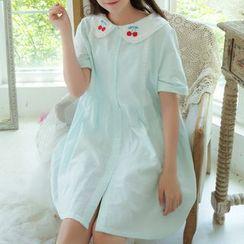 Moricode - 短袖刺繡襯衫裙