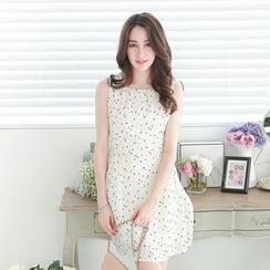 东京著衣 - 无袖印花连衣裙