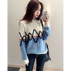 UPTOWNHOLIC - Color-Block Textured Knit Top
