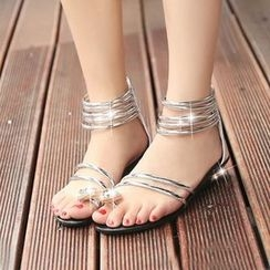 MANMANNI - Jeweled Loop-Toe Flat Sandals