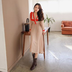 PPGIRL - Contrast-Trim Pleated-Hem Long Dress