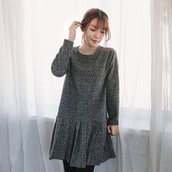 Seoul Fashion - Pleats-Hem Long-Sleeve Tweed Dress