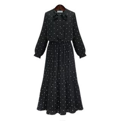 Coronini - Polka Dot Tie-Neck Maxi Chiffon Dress