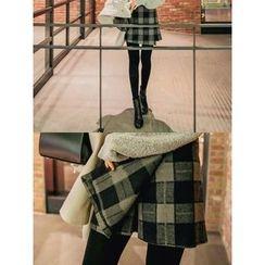 LOLOten - Wrap-Front Wool Blend Plaid Shorts