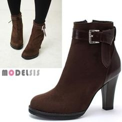 MODELSIS - Genuine Leather Buckled Strap Ankle Boots