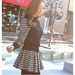 REDOPIN - Inset Knit Top Gingham Dress