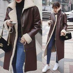 Seoul Fashion - Long Faux-Shearling Coat