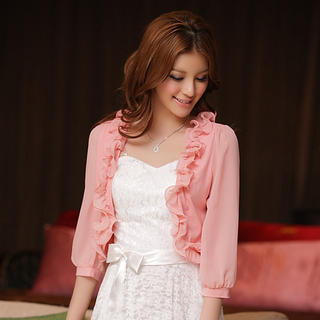 JK2 - 3/4-Sleeve Ruffled Open-Front Cardigan
