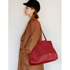 FROMBEGINNING - Faux-Leather Shoulder Bag with Pouch