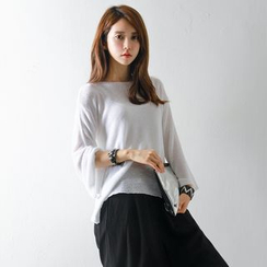 FASHION DIVA - Drop-Shoulder Sheer Knit Top
