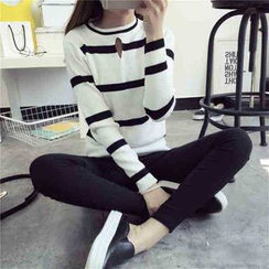 Florie - Long-Sleeve Striped Cutout Knit Top