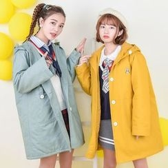 Moriville - Hooded Embroidered Trench Jacket