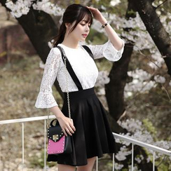 Dowisi - Set : Bell-Sleeve Lace Top + Jumper Skirt