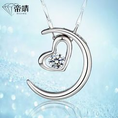 DIJING - Heart Rhinestone Sterling Silver Necklace