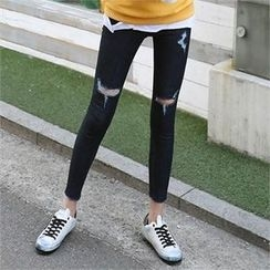 CHICFOX - Fray-Hem Distressed Jeans