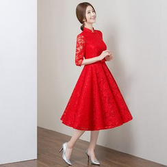 Royal Style - Elbow Sleeve Mandarin Collar A-Line Lace Cocktail Dress